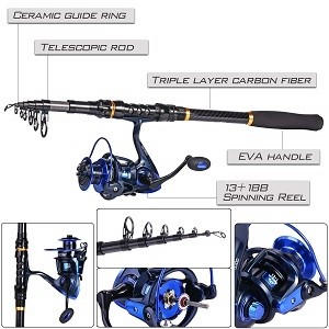 TROUTBOY Black Warrior Telescopic Fishing Rod and Reel Combo