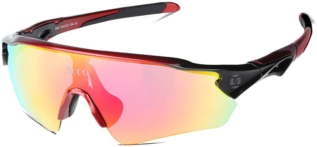 DUCO Polarized Sports Cycling Sunglasses- 5 Interchangeable Lenses