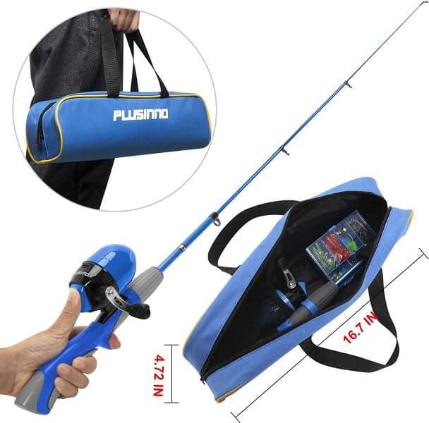 PLUSINNO Kids Telescopic Fishing Rod and Reel Combo