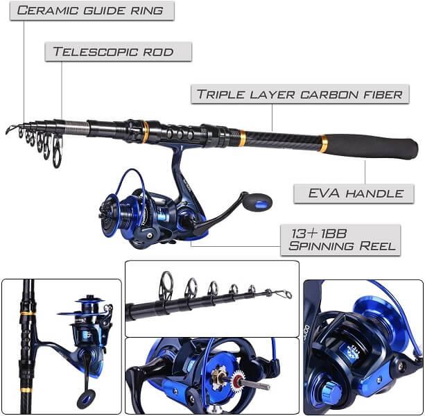 TROUTBOY Black Warrior Telescopic Fishing Rod